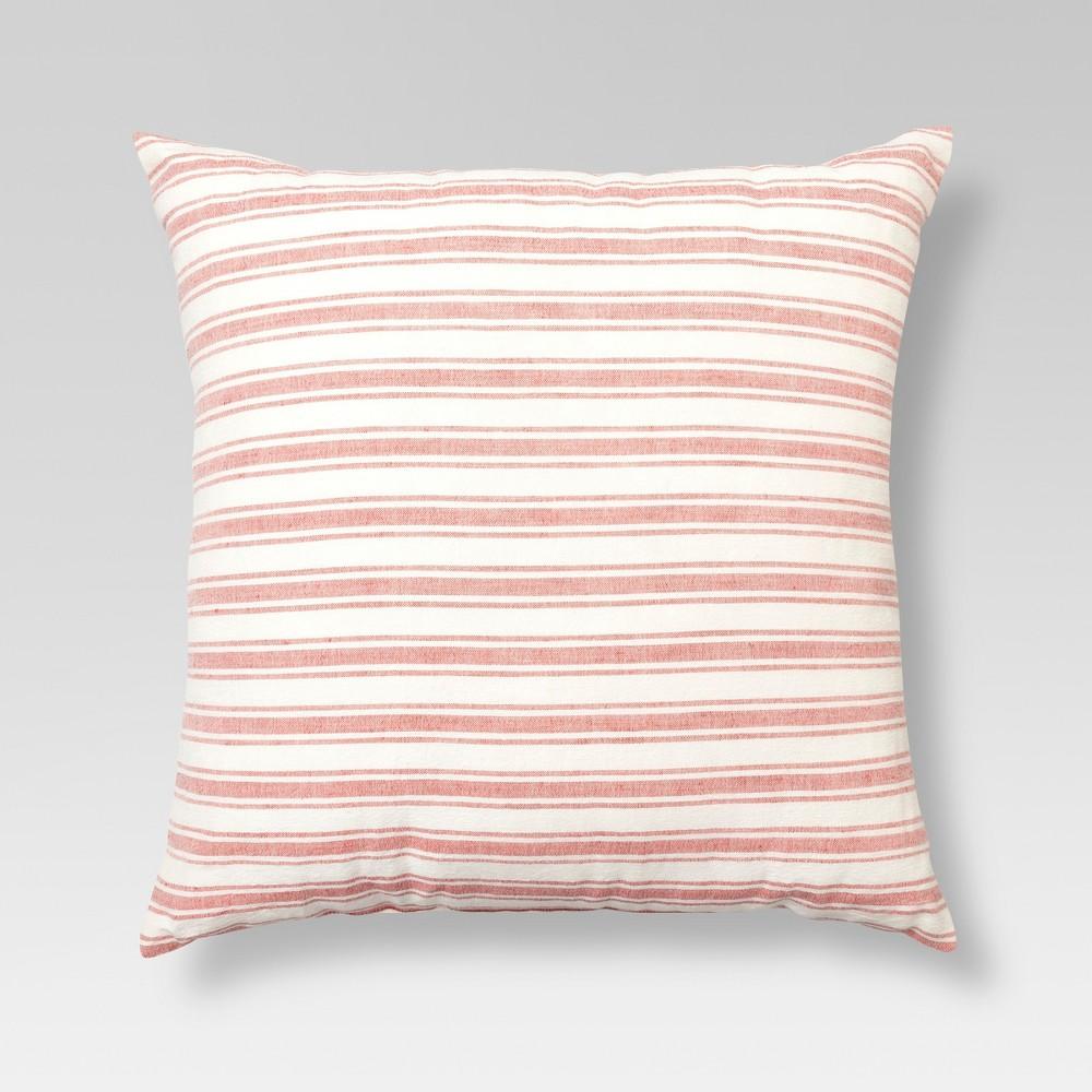 Pink & Cream Linen Stripe Throw Pillow (18