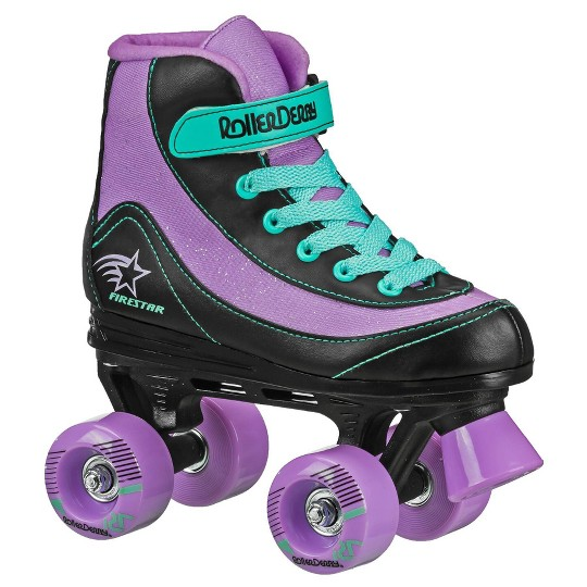 Roller Derby FireStar Youth Girls' Roller Skate - Purple/Black/Mint - 4, Girl's, Green Black Purple image number null