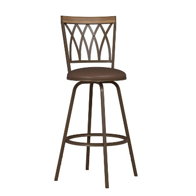 Set of 2 Deacon Swivel Adjustable Barstools with Nested Legs Brown - Hillsdale Furniture