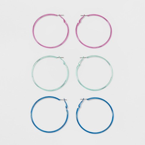 Anodized Hoop Earring Set 3ct - Wild Fable™ - image 1 of 4