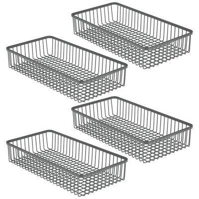 mDesign Metal Kitchen Cabinet Drawer Organizer Tray, 4 Pack