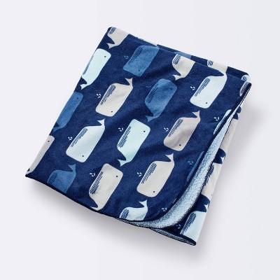 Plush Velboa Baby Blanket Whales - Cloud Island™ Navy