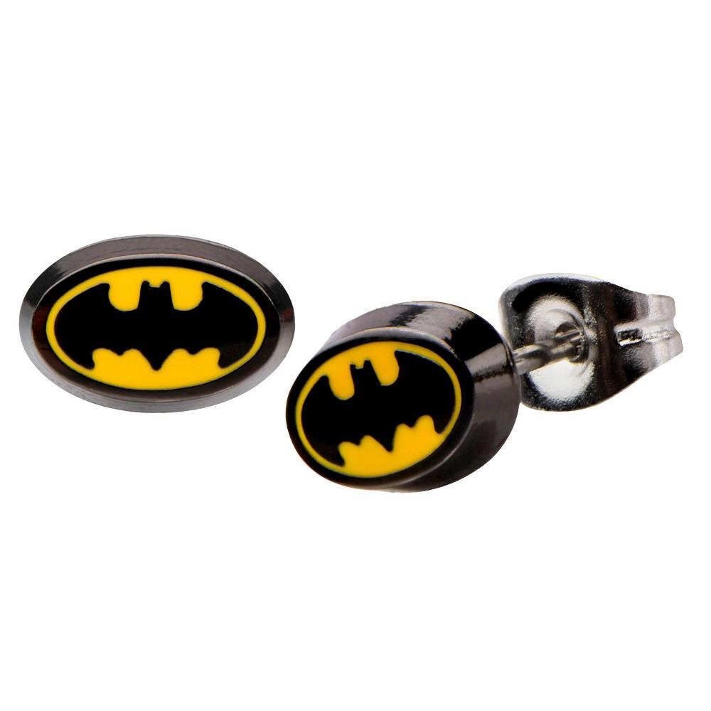 DC Comics Batman Logo Stainless Steel Oval Stud Earrings - Black/Yellow, Kids Unisex, Black/Silver
