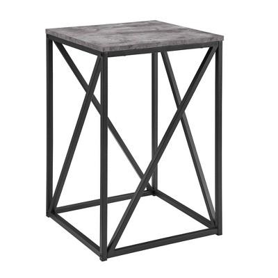 "16"" Modern Geometric Square Side Table Faux Concrete - Saracina Home"