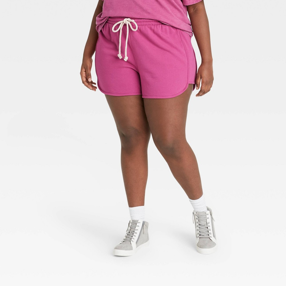 Women 39 S Plus Size Mid Rise French Terry Pull On Shorts Universal Thread 8482 Pink 4x