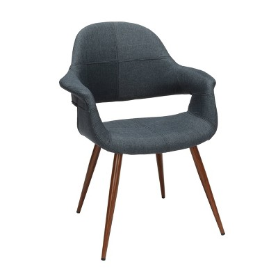 Set of 2 Mid-Century Modern Fabric Accent Dining/Side Chair with Arms Blue - OFM