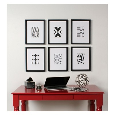 Kate & Laurel 15.5 x12.25  6pc Calder And Print Decorative Wall Art Set Black/White
