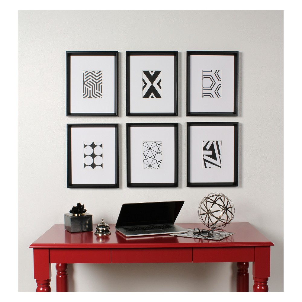 "Image of ""15.5""""x12.25"""" 6pc Calter And Print Decorative Wall Art Set Black/White - Kate & Laurel"""