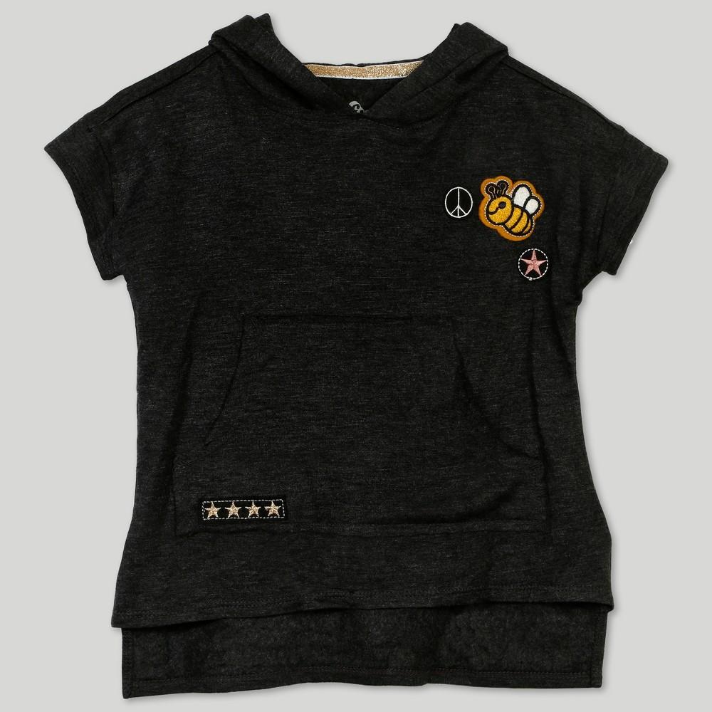 Afton Street Toddler Girls' Short Sleeve Hooded Tunic Dress - Gray 18M