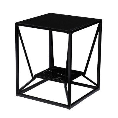 Finsfil Square Glass-Top End Table Black - Aiden Lane