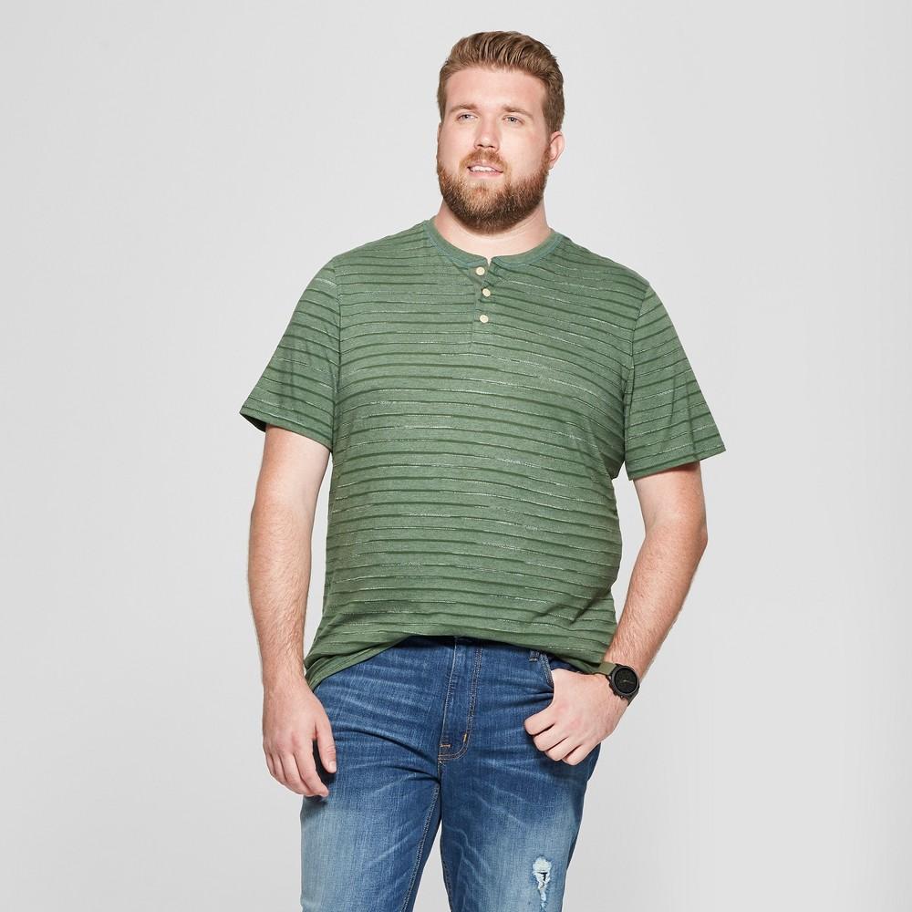 Men's Big & Tall Striped Regular Fit Short Sleeve Henley - Goodfellow & Co Banyan Tree Green 4XB