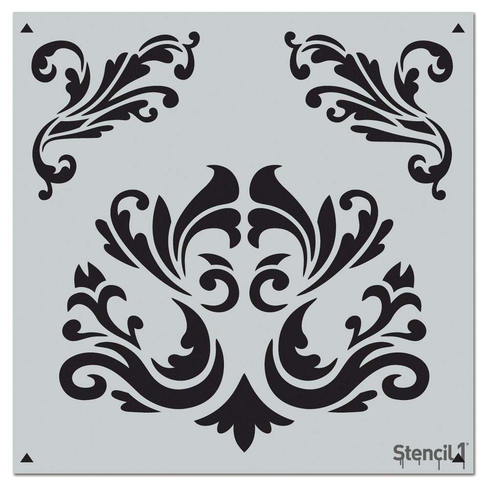 Stencil1 Flourishes Repeating - Wall Stencil 11 x 11, White