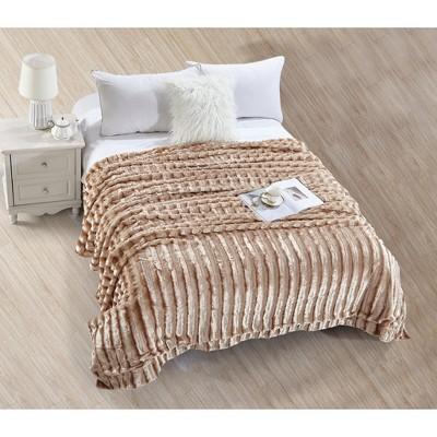 De Moocci Striped Super Soft Faux Fur Blanket