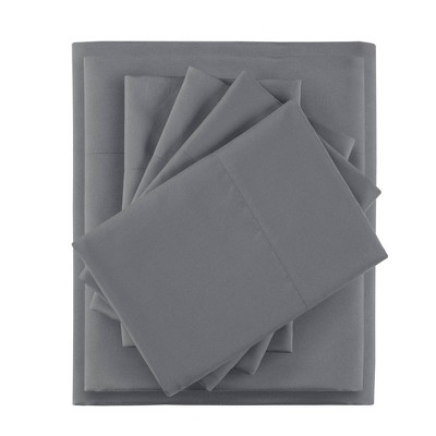 Twin 4pc Microfiber Sheet Set with Side Storage Pockets Charcoal