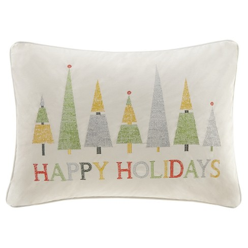 "Ivory Happy Holidays Oblong Throw Pillow (14""x20"") - image 1 of 1"