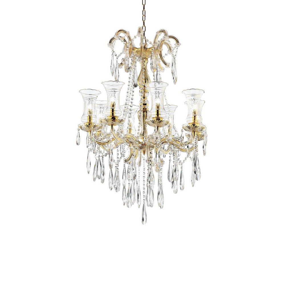 Image of Adeline Crystal Led Chandelier with Hurricane Glass Gold - Ore International