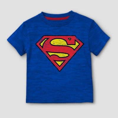 Toddler Boys' DC Comics Superman Man of Steel Short Sleeve T-Shirt - Blue 2T