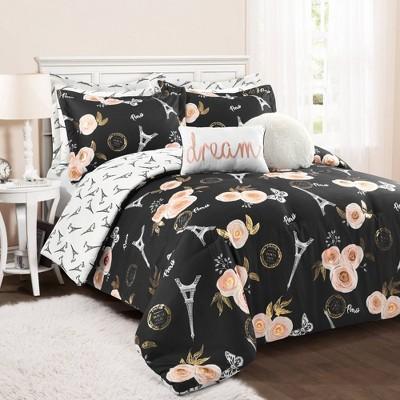King 7pc Vintage Paris Rose Butterfly Script Comforter Set Black - Lush Décor