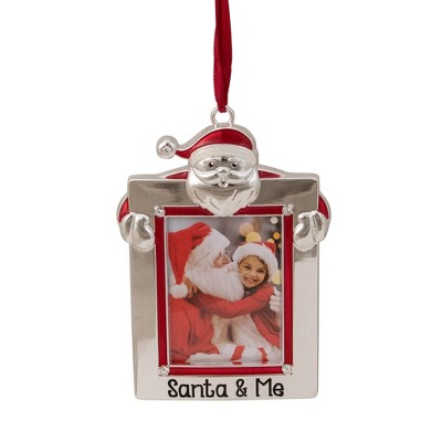 """Northlight 3.5"""" Silver """"Santa and Me"""" Photo Frame Christmas Ornament with Crystals"""