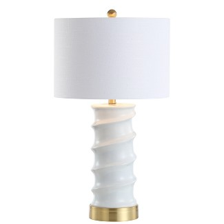 "28"" Taipei Ceramic LED Table Lamp White (Includes Energy Efficient Light Bulb) - JONATHAN Y"