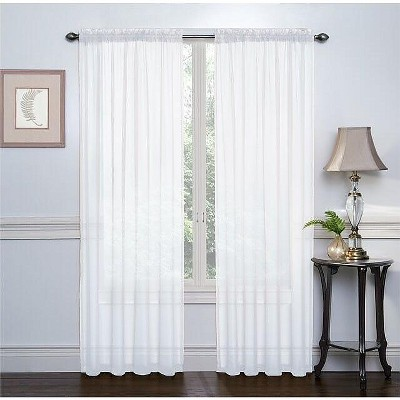 GoodGram 2 Pack: Luxurious Voile Rod Pocket Sheer Curtain Panels