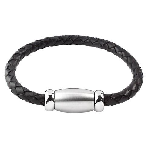Men S West Coast Jewelry Stainless Steel Brushed Finish Black Braided Leather Bracelet