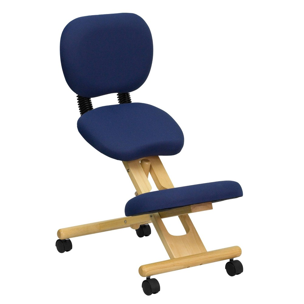 Mobile Wooden Ergonomic Kneeling Posture Chair in Navy Blue Fabric with Reclining Back - Flash Furniture