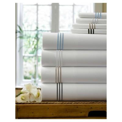 King Triple Line Solid Flat Sheet Black - Cassadecor