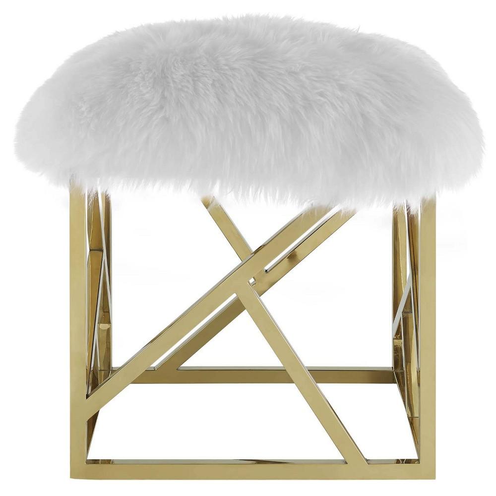 Intersperse Sheepskin Ottoman Gold White - Modway