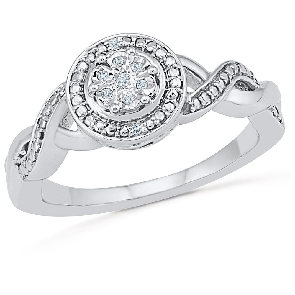 Image of 0.925 CT. T.W. Silver and 0.030 CT. T.W. White Diamond Fashion Ring (9), Women's