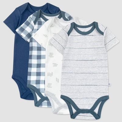 Honest Baby Boys' 4pk Organic Cotton Painted Buffalo Short Sleeve Bodysuit - Navy/Gray/White 0-3M