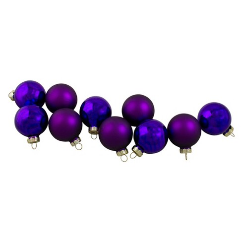 """Northlight 10ct Shiny and Matte Purple Glass Ball Christmas Ornaments 1.75"""" (45mm) - image 1 of 3"""