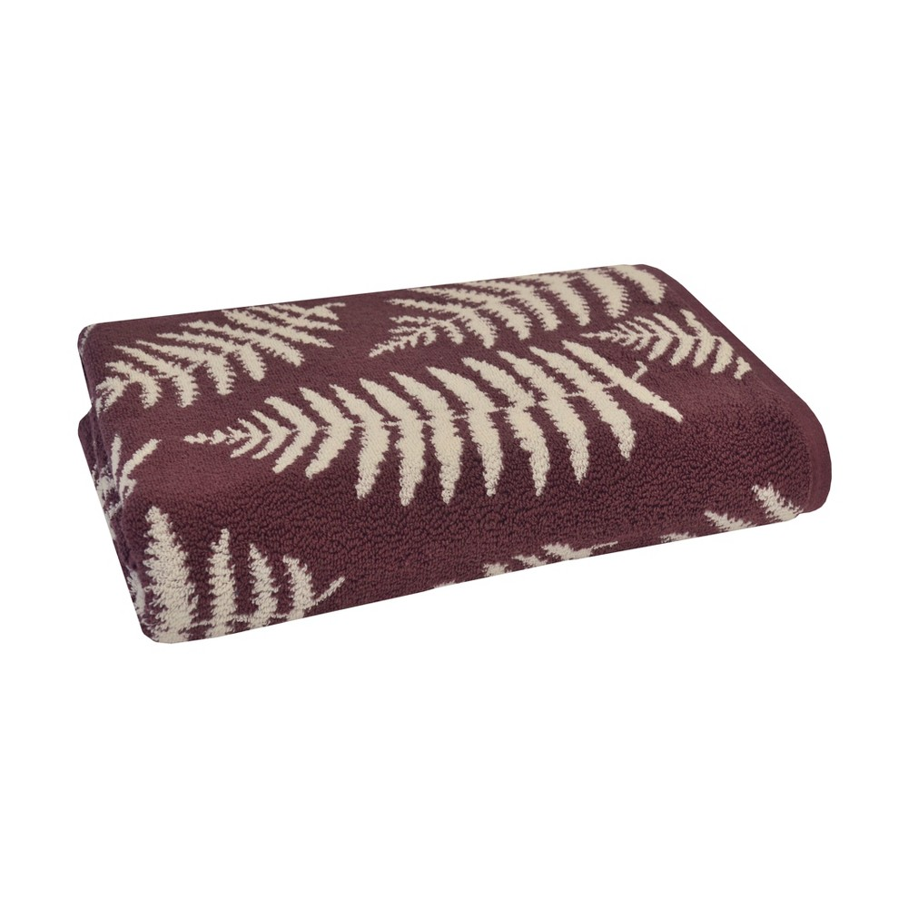 Fern Jacquard Bath Towel Maroon (Red) - Sanderson