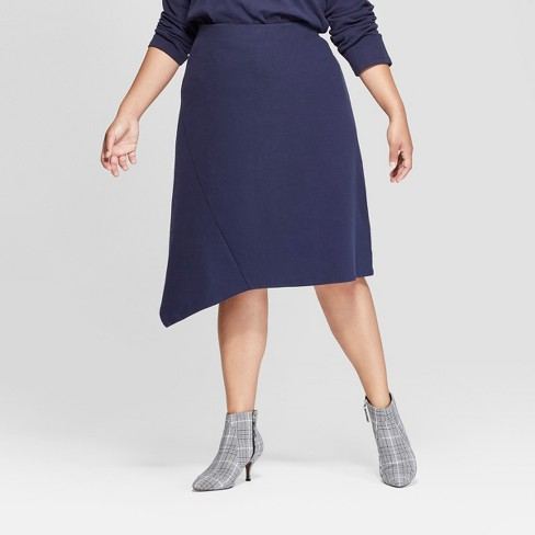 81f34803177 Women s Plus Size Comfort Waistband Asymmetrical Hem Midi Skirt - Ava    Viv™ Navy