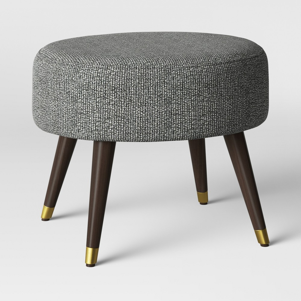 Admirable Farwell Oval Ottoman With Gold Caps Blackcream Blackivory Cjindustries Chair Design For Home Cjindustriesco