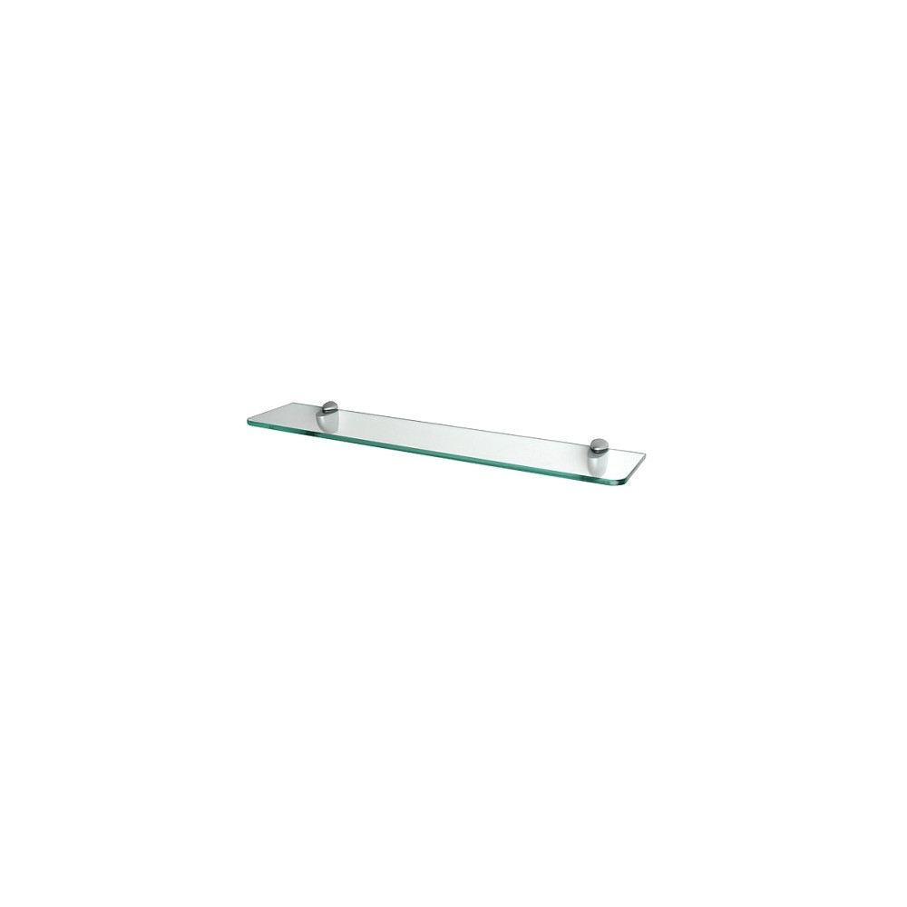 "Image of ""Clear Glass Shelf with Curved Brackets - 24"""""""