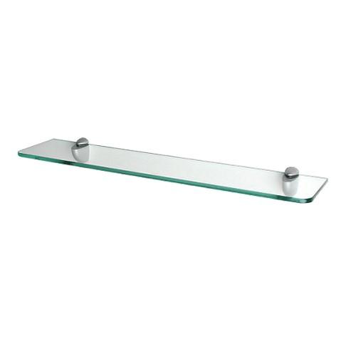 'Clear Glass Shelf with Curved Brackets - 24'''