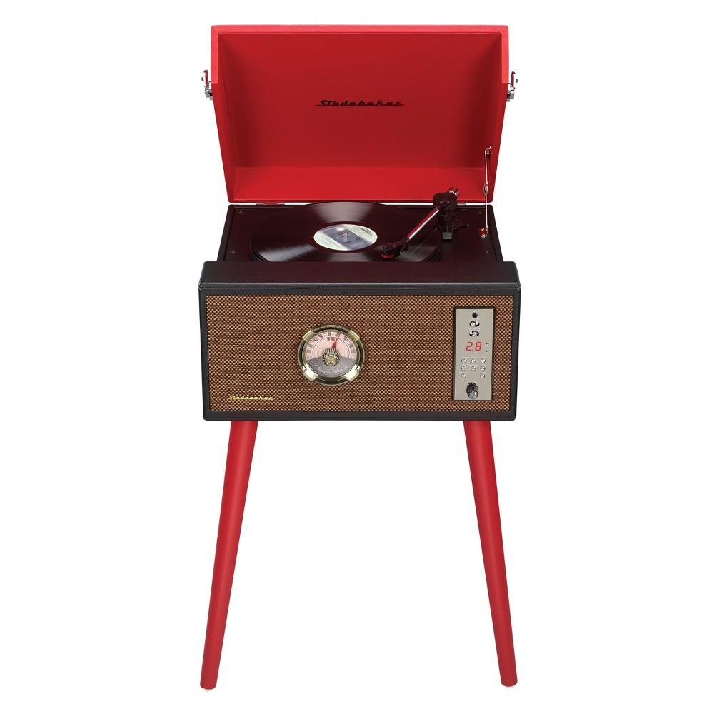 Studebaker Floor Stand Turntable with BT Receiver, CD Player, Analog FM Radio (SB6085) - Red