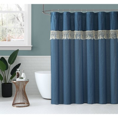 Lydia Shower Curtain Blue - Peach & Oak