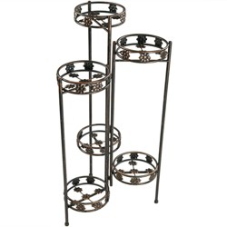 "45"" Metal 6-Tier Folding Plant Stand - Bronze - Sunnydaze Decor"