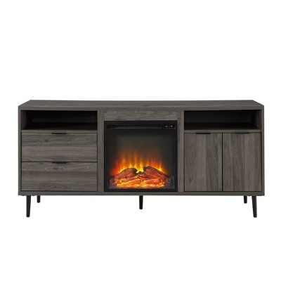 "Ronan Modern Storage with Electric Fireplace TV Stand for TVs up to 65"" - Saracina Home"
