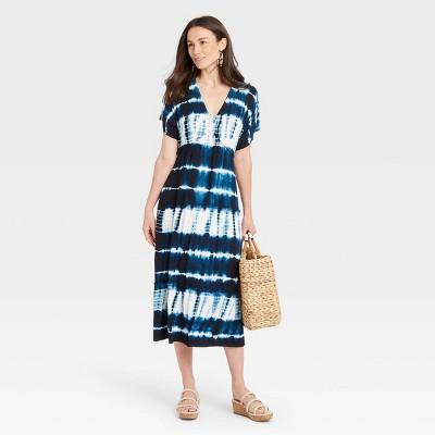 Women's Tie-Dye Short Sleeve Knit Kimono Dress - Knox Rose™ Navy