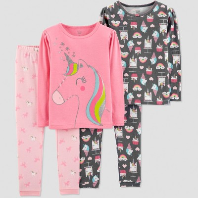 Baby Girls' 4pc Unicorn Pajama Set - Just One You® made by carter's Pink 18M