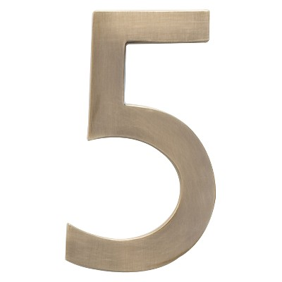 Architectural Mailbox 4  Cast Floating House Number 5 Antique Brass