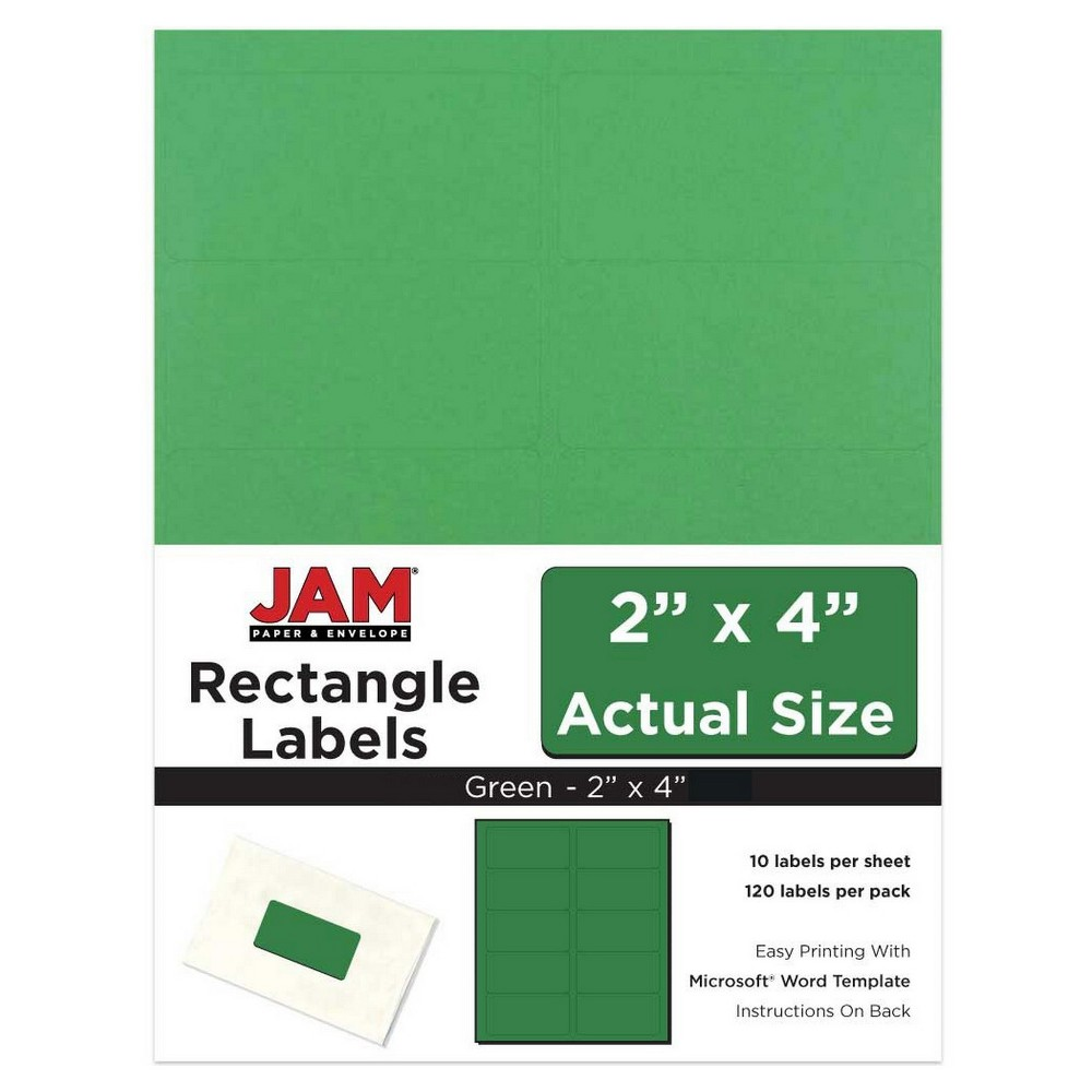 """Image of """"JAM Paper Mailing Labels 2"""""""" X 4"""""""" 120ct - Green"""""""