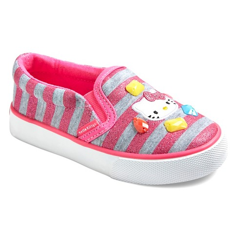 Toddler Girls' Hello Kitty Canvas Sneakers - Pink & Gray Stripes - image 1 of 3