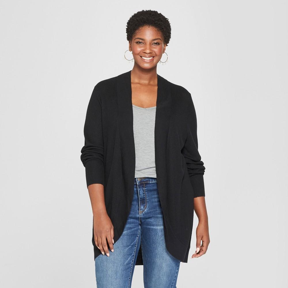 Women's Plus Size Cocoon Cardigan - Ava & Viv Black 3X