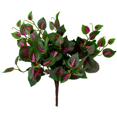 """Allstate Floral 10.5"""" Green and Pink Variegated Artificial Coleus Plant Spray"""