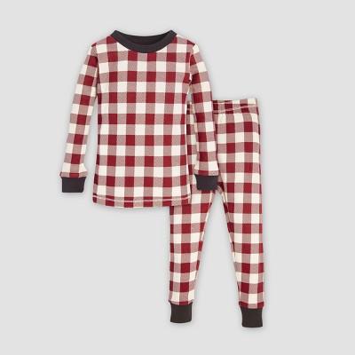 Burt's Bees Baby Baby Organic Cotton Buffalo Check Pajama Set - Cranberry/Off White 3-6M