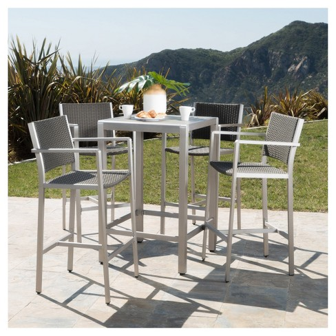 Enjoyable Cape Coral 5Pc All Weather Wicker Metal Patio Bar Set Gray Christopher Knight Home Machost Co Dining Chair Design Ideas Machostcouk
